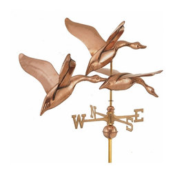 """Three Geese Weathervane - The Three Geese in Flight weathervane captures the grace and elegance of a flock of geese taking off from your rooftop, only you will have this trio permanently mounted on your home. These waterfowl form a perfect arc above your roof as they soar toward the heavens, guided only by instinct and the wind. The unique position of the birds gives the illusion of true waterfowl in flight, and your neighbors might be fooled for a minute as these gentle giants glide with the wind. The Three Geese in Flight weathervane is full-sized, perfect for most homes. It includes full-bodied figures, spacer balls and solid brass directionals.   Available in polished copper for enduring beauty.  28""""L x 14.5""""H x 20""""D"""