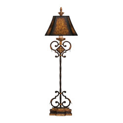 Fine Art Lamps - Castile Console Lamp, 234915ST - Top a console or buffet in your home with this slender lamp. The antiqued iron base gets its glow from gold leaf, while the parchment shade enhances the aura of distinguished warmth.