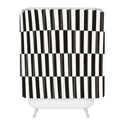 DENY Designs - Bianca Green Black And White Order Shower Curtain - Who says bathrooms can't be fun? To get the most bang for your buck, start with an artistic, inventive shower curtain. We've got endless options that will really make your bathroom pop. Heck, your guests may start spending a little extra time in there because of it!