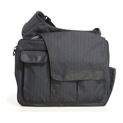 """Diaper Dude - Pinstripe Messenger II Diaper Bag - Features: -Made of polyester.-One large compartment for baby with mesh pocket.-Additional compartment for dad with mesh pocket.-Padded shoulder strap.-Three large compartments with Velcro closure.-Dad checklist screened on flap.-Padded changing pad.-Clips for stroller strap.-Product Type: Diaper Bag.-Collection: Diaper Dude Messenger II Bag.-Distressed: No.-Exterior Material: Polyester.-Interior Material: Polyester.-Handle/Strap Material: Polyester.-Non Toxic: Yes.-Microbe Resistant: No.-Mildew Resistant: No.-Stain Resistant: No.-Odor Resistant: No.-Fade Resistant: Yes.-Water Resistant: No.-Waterproof Interior: No.-Closure: Velcro.-Life Stage: Baby.-Stroller Connectors Included: Yes.-Hard Base: No.-Protective Feet: No.-Dividers: Yes -Adjustable Dividers: No..-Adjustable Strap: Yes.-Padded Shoulder Strap: Yes.-Diaper Hammock: No.-Wipe Case Included: No.-Bottle Holder: Yes -Number of Bottles Accommodated: 1..-Pacifier Holder: No.-Keyring Holder: No.-Cell Phone Pocket: No.-Credit Card Slots: No.-Machine Washable: No.-Insulated Pocket: Yes.-Changing/Sitting Pad Included: Yes -Laminated Changing Pad: No.-Changing/Sitting Pad Material: Nylon..-Dirty Clothes Bag: No.-Recycled Content: No.-Eco-Friendly: No.-Product Care: Spot Clean.Specifications: -CPSIA or CPSC Compliant: Yes.-ASTM Compliant: Yes.-JPMA Certified: Yes.-PVC Free: Yes.Dimensions: -14'' H x 17'' W x 5'' D, 2.8 lbs.-Overall Height - Top to Bottom: 14"""".-Overall Width - Side to Side: 16"""".-Overall Depth - Front to Back: 5"""".-Adjustable Strap Length: -Maximum Strap Length: 39"""".-Minimum Strap Length: 24""""..-Changing Pad: -Changing Pad Width: 16"""".-Changing Pad Length: 23.5""""..-Overall Product Weight: 2.2 lbs.Assembly: -Assembly Required: No.-Additional Parts Required: No.Warranty: -Product Warranty: 1 Year."""