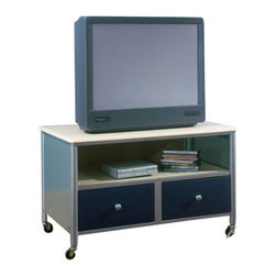 Hillsdale Furniture - Hillsdale Universal Youth 38 Inch TV Stand - The silver and navy Universal Youth bedroom offers super solutions for any kids room, whether you choose the traditional bed, the bookcase headboard with under bed storage, the loft bed or bunk beds. Add any combination of case goods to create the perfect home base for your child, tween or teen.