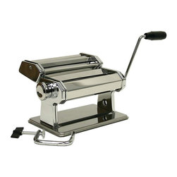 """Unknown - Maxam® Stainless Steel Pasta Machine - Enjoy the healthy goodness of preparing your own spaghetti, fettuccine and lasagna. This stainless steel pasta machine features adjustable rollers that provide 9 different thickness settings, included clamp for easy table-top attachment, plus a recipe and instruction booklet. Measures 8-1/2"""" x 9"""" x 6-1/4"""". White box."""