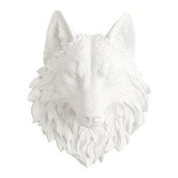 White Faux Taxidermy - White Faux Taxidermy - Large Wolf Head - Fake Animal Mounts - Measurements: