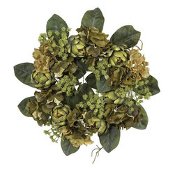 """18"""" Artichoke Wreath - Featuring several hues of green lightly adorned with softer shaded blooms, this bold wreath brings a wealth of natural beauty and outdoor freshness to any decor. The artichoke is well known for its varied textures, from the supple leaves to the intricately shaped hearts, and this wreath demonstrates them perfectly. Made from the finest materials, this wreath not only looks beautiful, but will last a lifetime. Height= 18 in x Width= 18 in x Depth= NA"""