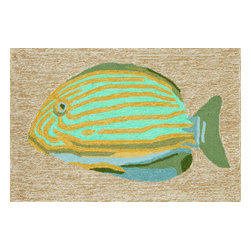 """Trans-Ocean Inc - Striped Fish Neutral 30"""" x 48"""" Indoor/Outdoor Rug - Richly blended colors add vitality and sophistication to playful novelty designs. Lightweight loosely tufted Indoor Outdoor rugs made of synthetic materials in China and UV stabilized to resist fading. These whimsical rugs are sure to liven up any indoor or outdoor space, and their easy care and durability make them ideal for kitchens, bathrooms, and porches; Primary color: Neutral;"""
