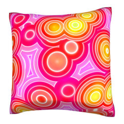 Custom Photo Factory - Retro Circles Pattern Pink Pillow.  Polyester Velour Throw Pillow - Retro Circles Pattern Pink Pillow. 18 Inches x 18 Inches  Made in Los Angeles, CA, Set includes: One (1) pillow. Pattern: Full color dye sublimation art print. Cover closure: Concealed zipper. Cover materials: 100-percent polyester velour. Fill materials: Non-allergenic 100-percent polyester. Pillow shape: Square. Dimensions: 18.45 inches wide x 18.45 inches long. Care instructions: Machine washable