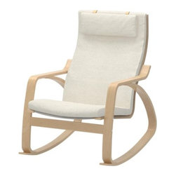 POÄNG Rocking Chair, Dala Natural - I wish that I'd bought this rocker for my nursery. I  love the combo of wood with natural fabric. It's so relaxing.