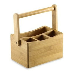 Core Bamboo - Core Bamboo Cutlery Caddy - Whether dining outside or inside, this handsome caddy is perfect for casual dining. It keeps your flatware and napkins contained in one place for easy access.