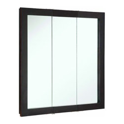 """DHI-Corp - Ventura Espresso Tri-View Medicine Cabinet Mirror, 30"""" by 30"""" - The Design House 541342 Ventura Espresso Tri-View Medicine Cabinet Mirror features an elegant espresso finish. This product meshes modern aesthetics with European sensibilities and has a thick espresso border with 3-doors. With a solid wood frame and stationary shelves, this mirror measures 30-inches by 30-inches by 6-inches. With a modern design, this mirror enriches your home with its stately dark finish and clean lines. This product is perfect for remodeling your bathroom and matches painted cabinets and granite counter tops. The cabinet doors glide open revealing (2) stationary shelves, sturdy enough to hold shampoo, medicine and makeup. This mirror will not chip or stain in steamy bathrooms. This product is CARB compliant, which means it adheres to the toughest production standards in the world for formaldehyde emissions (in wood composite paneling). Use this mirror for shaving or applying makeup in the morning. The Design House 541342 Ventura Espresso Tri-View Medicine Cabinet Mirror has a 1-year limited warranty that protects against defects in materials and workmanship. Design House offers products in multiple home decor categories including lighting, ceiling fans, hardware and plumbing products. With years of hands-on experience, Design House understands every aspect of the home decor industry, and devotes itself to providing quality products across the home decor spectrum. Providing value to their customers, Design House uses industry leading merchandising solutions and innovative programs. Design House is committed to providing high quality products for your home improvement projects."""