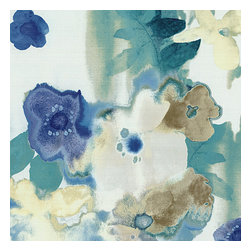 Blue & Aqua Watercolor Floral Fabric - Cobalt blue & aqua watercolor floral on white cotton. Instant modern art, no frame needed.Recover your chair. Upholster a wall. Create a framed piece of art. Sew your own home accent. Whatever your decorating project, Loom's gorgeous, designer fabrics by the yard are up to the challenge!