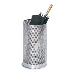 Blomus - Vido Stainless Steel Umbrella Stand - Includes plastic insert. Umbrella not included. Made of stainless steel. 1-Year manufacturer's defect warranty. 9.88 in. Dia. x 19.75 in. H
