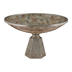Sterling - Sterling 112-1129 Mother Of Pearl Bowl Set On Silver Leaf Base - Sterling 112-1129 Mother Of Pearl Bowl Set On Silver Leaf Base
