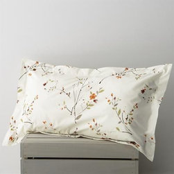 Sakura King Pillow Sham - Ikebana inspiration for your personal space. A botanical pigment print in burnt oranges, greens and rust with brown branches is scattered across a soft white background. Flanged pillow sham has flap closure. Bed pillows also available.