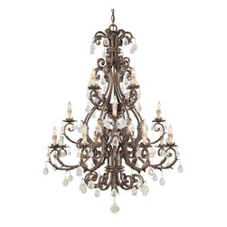 Savoy House - Chastain 16-Light Chandelier - Cast iron leaves and a new tortoise shell and silver finish with clear crystals and antique cream drip candle covers.