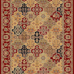 KAS - KAS Cambridge 7325 Kashan Panel (Red) 5' x 7' Rug - Our Cambridge Series is machine-woven in China of heat-set polypropelene. This line features a current color palette in classic and transitional patterns providing a well-designed and durable rug at a very affordable price point. No fringe.