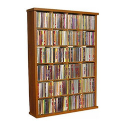 "Venture Horizon - VHZ Entertainment 24 Slot Storage Rack - Versatile, useful and attractive. This media cabinet will hold your nick- knacks, collectables and of course CDs DVDs and VHS tapes. . Features: -24 equal-sized cubbies for multimedia, book or collectible storage.-Made in the USA.-All necessary hardware included.-Durable, stain-resistant, laminated, wood-composite construction.-Holds 310 CDs, 96 DVDs, 122 Blu-ray, 48 VHS tapes or 300+ Audio Cassettes.-Distressed: No.-Collection: VHZ Entertainment.Dimensions: -Overall Height - Top to Bottom: 34.5"".-Overall Width - Side to Side: 24"".-Overall Depth - Front to Back: 6.75"".-Overall Product Weight: 20 lbs."