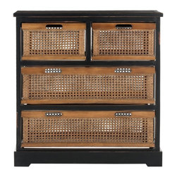 Safavieh - Safavieh Jackson 4 Drawer Storage Unit X-B4056HMA - The British Colonial inspired Jackson four-drawer storage evokes exotic locales abroad, yet features a relaxed vibe and generous storage right at home.