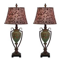 Casa Cortes - Urban Designs Fleur-di-Lis French Vine Table Lamp - Set of 2 - Add stunning glamour and remarkable luxury to contemporary decor with these table lamps by Urban Designs. An infusion of color and style these designer lamps are handcrafted by experienced artisans as unique decorative pieces. Perfect for virtually any space.
