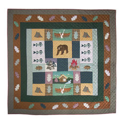 Patch Quilts - Cabin Quilt  Luxury King 120 x 106 Inch - Intricately appliqued and beautifully hand quilted  - Bedding ensemble from Patch Magic  the name for the finest quality quilts and accessories  - Machine washable  - Line or Flat dry only Patch Quilts - QLKCABN