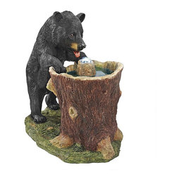 EttansPalace - Drinking Wildlife Bear Home Garden Statue - There doesn't seem to be a mountain cooler that can handle the big thirst of this black bear statue turned garden fountain! From his furry paws to the realistically rough bark on his tree basin, our wildlife sculpture welcomes your guests to the great outdoors as a functional work of decorative art accompanied by the sound of dancing water music. With a center core pool lit by the included LED light kit, you can even enjoy this animal sculpture into the evenings! Cast in quality designer resin with an amazingly detailed, hand-painted finish, this naturalistically sculpted fountain is an investment in garden art. UL-listed, indoor/outdoor pump. Arrives in 2 pieces.