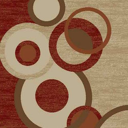 Ottomanson - Dark Red Contemporary Circles Design Rug - Royal Collection offers a wide variety of machine made modern and oriental design area rugs with durable, stain-resistant pile in trendy colors.