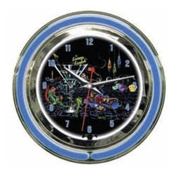"""Michael Godard Fine Art - Lounge Lizard Clock (18 in.) - Choose Size: 18 in.. Inner neon white to illumiate artwork. Exterior neon colored. Power: Ac adapter plugs into power outlet (120v) requires 1 """"aa"""" battery. Pull chain gives customer choice of blink feature or solid neon. Case in polished chrome finish resin housing. 14 in.: 14 in. Dia. x 3.25 in. D (5 lbs.). 18 in.: 18 in. Dia. x  5 in. D (10 lbs.)"""
