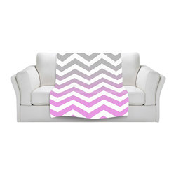 DiaNoche Designs - Throw Blanket Fleece - Chevron Pink Grey - Original Artwork printed to an ultra soft fleece Blanket for a unique look and feel of your living room couch or bedroom space.  DiaNoche Designs uses images from artists all over the world to create Illuminated art, Canvas Art, Sheets, Pillows, Duvets, Blankets and many other items that you can print to.  Every purchase supports an artist!