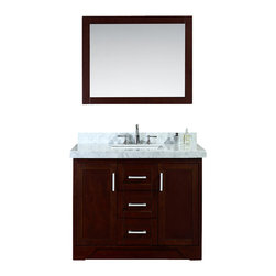 "Ariel - Ashbury 42"" Single-Sink Bathroom Vanity Set - Blending old American-Craftsman design with modern elments, this Ashbury single sink bathroom vanity cabinet features two shaker-style doors and two soft-closing drawers providing ample storage.  The unit is fully assembled with a gorgeous white carrera marble countertop and rectangular undermount sink."