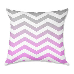 DiaNoche Designs - Pillow Woven Poplin from DiaNoche Designs by Monika Strigel Chevron Pink Grey - Toss this decorative pillow on any bed, sofa or chair, and add personality to your chic and stylish decor. Lay your head against your new art and relax! Made of woven Poly-Poplin.  Includes a cushy supportive pillow insert, zipped inside. Dye Sublimation printing adheres the ink to the material for long life and durability. Double Sided Print, Machine Washable, Product may vary slightly from image.