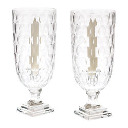 Go Home - Pair of Circle Hurricanes - The round depressions lend a stylish dimension to the clarity of the thick-cut glass and smartly create a texture to catch the light.A composition of uniformly sized circles distinguishes these classic hurricane candle holders with a modern yet understated graphic effect.