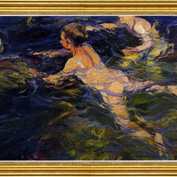 """Joaquin Sorolla Y Bastida-16""""x24"""" Framed Canvas - 16"""" x 24"""" Joaquin Sorolla Y Bastida Swimmers, Javea framed premium canvas print reproduced to meet museum quality standards. Our museum quality canvas prints are produced using high-precision print technology for a more accurate reproduction printed on high quality canvas with fade-resistant, archival inks. Our progressive business model allows us to offer works of art to you at the best wholesale pricing, significantly less than art gallery prices, affordable to all. This artwork is hand stretched onto wooden stretcher bars, then mounted into our 3"""" wide gold finish frame with black panel by one of our expert framers. Our framed canvas print comes with hardware, ready to hang on your wall.  We present a comprehensive collection of exceptional canvas art reproductions by Joaquin Sorolla Y Bastida."""