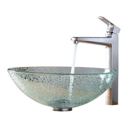 Kraus - Kraus Mosaic Glass Vessel Sink and Virtus Faucet Chrome - *Add a touch of elegance to your bathroom with a glass sink combo from Kraus