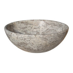 Classic Natural Stone Vessel Sink, Antico Travertine - The Classic Vessel Sink is a popular choice for those seeking a natural stone sink for their bathroom project. This sink is available in limestone, light travertine, antico, beige marble and white (Afyon) marble. The sink pictured is antico travertine.