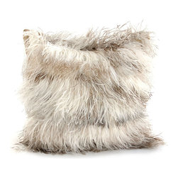 Ostrich Feather Throw Pillow, Salt and Pepper - A playful pillow gorgeously fashioned from a panoply of salt and pepper ostrich feathers. The square design of the Ostrich Feather Pillow is generously enhanced with an abundance of feathers that impart a fine yet generous beauty to this accent piece. A fanciful addition to the appointments of a great room, sitting area, or foyer.