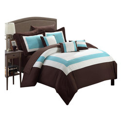 Chic Home - Duke Brown White and Aqua King 10 Piece Comforter Bed in a Bag Set - All your needs to add simple elegance to any bedroom decor are find in this 10-piece comforter set. A beautiful pieced color block design comforter with decorative pillows and a complete sheet set all in one set!!! All made from beautiful peach skin microfiber fabric that will make those overpriced $1000 bedding sets feel so jealous.
