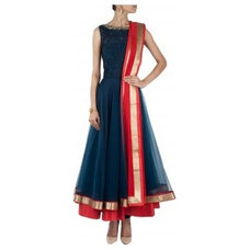Navy blue bugle bead embroidered anarkali available only at Pernia's Pop-Up Shop