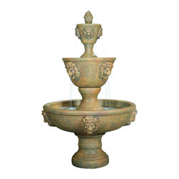 Large Three Tier Leonesco Fountain, Natural - *Please Note: Our color chart is for example purposes only.  Monitor settings and how the finish is applied to these outdoor water fountains can vary to what is shown in the color chart.  Actual stone samples of each finish can be purchased to help you make your finish choice.