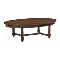 Bernhardt Vintage Patina Oval Cocktail Table - Belfort Furniture - The hand-planed mahogany woodwork used to construct this oval-shaped cocktail table conveys an antique-like aesthetic and charm. Its sophisticated appeal allows it to beautifully compliment both traditional and contemporary living collections. The four round legs are connected by a stretcher. All woodwork is treated with an earthy Tobacco finish and polished with a melted French finishing wax.