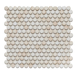 GetAround - Penny Round Mosaic Tile, Cafe Au Lait - Glossy - Sold per Square Foot