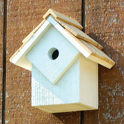 Summer Home Bird House - Set of 5 - Wrens, Chickadees, Nuthatches or Titmice, this Summer Home Bird House is beloved by many and with its reinforced front you'll never have to worry about unwanted guests. Made of select cypress with a special hand-cut and stone-washed shingle roof. Features a copper covered cleanout door and metal hanger for easy maintenance.