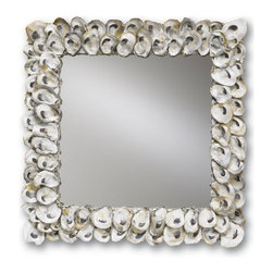 Square Oyster Shell Mirror - Natural Shell - Whole oyster shells give a scalloped look to the Square Oyster Shell Mirror, a wall piece that looks ruggedly ideal in either bath or living space in a transitional or rustic beach house, but recalls the elegance of Victorian folly souvenirs in more traditional surroundings.  The natural color of the spoon-shaped shells looks pale and clean against colored walls but enhances the crispness of white ones � making this square shell wall mirror utterly versatile.