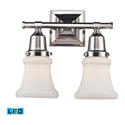 Elk Lighting - Landmark Lighting Barton 66231-2-LED Polished Nickel Vanity - LED - 800 Lumens - 66231-2-LED Polished Nickel Vanity - LED - 800 Lumens belongs to Barton Collection by Landmark Lighting This Series Exhibits White Hand-Blown Mission Style Glass With An Oversized Glass Holder For Added Impact. Hardware Is Finished In Polished Nickel To Highlight The Quality Components Of This Refined Collection. - LED, 800 Lumens (1600 Lumens Total) With Full Scale Dimming Range, 60 Watt (120 Watt Total)Equivalent , 120V Replaceable LED Bulb Included Vanity Light (1)
