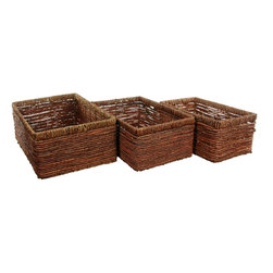 Oriental Furniture - Hand Woven Space Saver Basket ( Set of 3 ) - The sleek design and low height of this set of three storage baskets make them ideal for use where space is at a premium. Fill them up with knickknacks, magazines, or toys and slide under a coffee or end table for a quick and easy way to tidy up your family room.