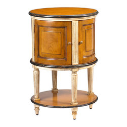 French Heritage - Lilles Laon Drum Table - This unique drum table is an upbeat addition to your home. Shaped like a barrel or musical instrument, the maple and mahogany piece has two sliding doors and can be used as a side table. Perfect for your fine bottles of spirits or other stashable items, this traditional French heritage piece is a scene-stealer.