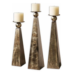 Carolyn Kinder - Carolyn Kinder Cesano Candlestick/Candle Holder X-25691 - Brushed, heavily antiqued, rustic bronze metal finish. Distressed beige candles included. Sizes: Sm-5X18X5, med-5X22X5, lg-6X26X6