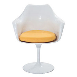"""LexMod - Lippa Dining Armchair in Yellow - Lippa Dining Armchair in Yellow - The Lippa Side Chair adds the perfect modern classic touch to any dinning space. Sturdy, easy to clean and lovely to behold, these chairs elevate a meal to whole new levels of enjoyment. Available in an array of colors, the Lippa Chair makes it easy to express your individual style. Set Includes: One - Lippa Armchair ABS Plastic Seat, Aluminum Base, Cloth Cushions Overall Product Dimensions: 23.5""""L x 27""""W x 33.5""""H Seat Height: 21""""H Armrest Height: 26.5""""H - Mid Century Modern Furniture."""