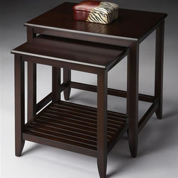 Butler - Nesting Tables in Merlot - These transitional styled nesting tables offer function and modern style to any space. Both tables feature matched Birch veneer tops, and are crafted from select solid Woods, Wood products and choice veneers. The smaller table has a slatted lower display shelf. Merlot finish. Some assembly required. Large: 24 in. W x 18 in. D x 26 in. H. Small: 19 in. W x 16.5 in. D x 23.5 in. H. Overall Weight: 26 lbs.