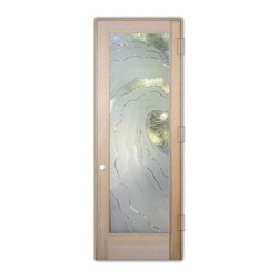 "Sans Soucie Art Glass (door frame material T.M. Cobb) - Interior Glass Door Sans Soucie Art Glass Metacurl 3D - Sans Soucie Art Glass Interior Door with Sandblast Etched Glass Design. GET THE PRIVACY YOU NEED WITHOUT BLOCKING LIGHT, thru beautiful works of etched glass art by Sans Soucie!  THIS GLASS IS SEMI-PRIVATE.  (Photo is View from OUTside the room.)  Door material will be unfinished, ready for paint or stain.  Satin Nickel Hinges. Available in other wood species, hinge finishes and sizes!  As book door or prehung, or even glass only!  3/8"" thick Tempered Safety Glass.  Cleaning is the same as regular clear glass. Use glass cleaner and a soft cloth."