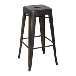 "Office Star - Office Star Bristow 30"" Antique Metal Barstool in Antique Copper (Set of 2)-Set - Office Star - Bar Stools - BRW3030A4AC - Unique modern metal chair that will get your guests talking for months. Stop playing safe and get ready to wow the crowd. These metal chairs are designed to be make your feel special. Backless design for simplicity and easy storage. Place this chair anywhere in your lovely home to receive instant compliment."
