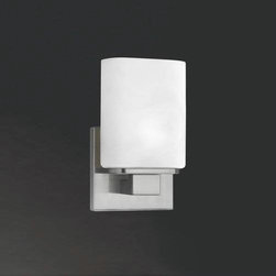 Eurofase - Eurofase 19417-028 Dolante 1 Light Wall Sconce in Satin Nickel 19417-028 - The perfect vanity design - Eurofase's Dolante series is both timeless and modern. Ostentatiously crisp white shades rise from a sparkling chrome bar in an effortless statement of both class and gentility.G9 BulbBulb Base: G9 Bulb Included: Yes Bulb Type: Halogen Collection: Dolante Extension: 3-1 2 Finish: Satin Nickel Height: 8 Length: 4-1 2 Light Direction: Up Lighting Max Wattage: 60 Number of Lights: 1 Safety Rating: cULus Shade Finish: OpalWhite Socket 1 Base: G9 Socket 1 Max Wattage: 60 Style: Contemporary Modern Suggested Room Fit: Bathroom, Bedroom Voltage: 120